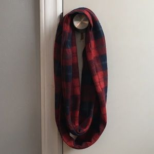 Accessories - Women's Navy Blue/Red Infinity Scarf One Size